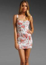 мини-платье из футера с цветочным принтом