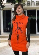 платье из футера с шелкографией