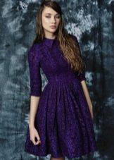 платье из фиолетового твида