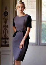 комбинированное твидовое платье