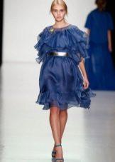 синее коктейльное платье из органзы