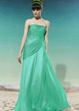 вечернее зеленое платье из органзы