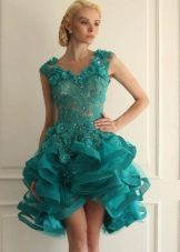 платье из органзы цвета морской волныплатье из органзы