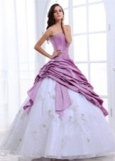 двуцветное свадебное платье из органзы
