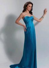 вечернее платье из сатина цвета аквамарин