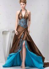 комбинированное вечернее платье