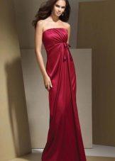 платье-бюстье из темно-красного сатина