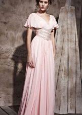 струящееся розоаое платье из сатина