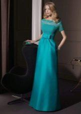 вечернее платье из сатина с кружевным лифом