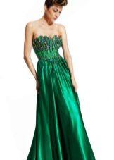 платье из сатина с лифом, украшенным камнями