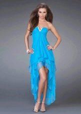 голубое сатиновое платье на выпускной