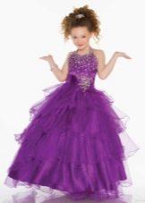 Фиолетовое пышное в пол платье на выпускной 4 класс