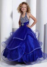 Синее со стразами платье на выпускной 4 класс