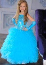 Бирюзовое пышное платье на выпускной 4 класс
