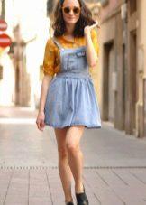 Рубашка яркая к  джинсовому платью-сарафане