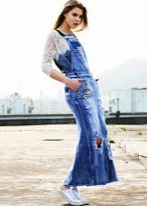 Кружевная кофта к  джинсовому платью-сарафане