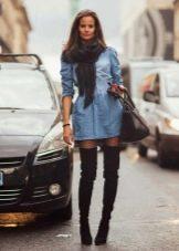 Шарф к джинсовому платью-рубашке