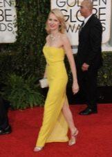 Вечерний образ в желтом платье