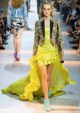Пиджак к желтому платью короткому спереди длинному сзади