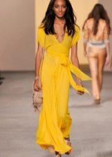 шифоновый пояс к желтому платью
