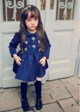 Трикотажное зимнее платье для девочки А-силуэта