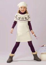 Трикотажное зимнее платье-туника для девочки