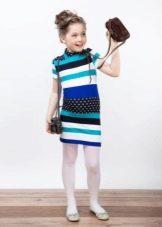 Трикотажное праздничное полосатое платье для девочки
