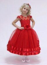 Выпускное платье в детский сад красное короткое