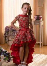 Выпускное платье в детский сад красное короткое спереди