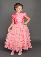 Выпускное платье в детский сад розовое многоярусное