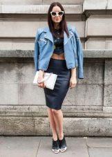 Джинсовый пиджак под юбку карандаш