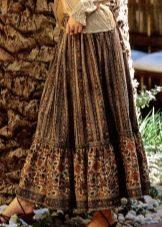 юбка с воланами с цветочным орнаментом