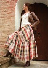 клетчатая юбка-макси с воланом