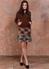 короткая юбка с ассиметричными воланами