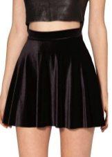 Шелковая черная юбка солнце