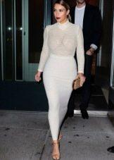 Длинная белая юбка карандаш с завышенной талией