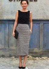 Длинная юбка карандаш из шерсти и эластана с завышенной талией