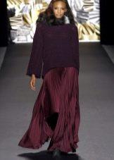 бордовая юбка-плиссе в пол