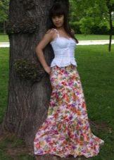 длинная летняя юбка-солнце с цветочным рисунком