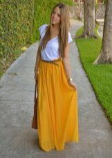 желтая длинная летняя юбка
