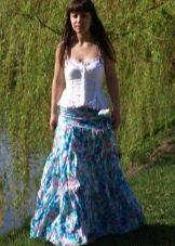 длинная летняя юбка в голубой гамме