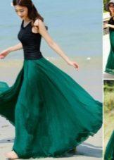темно-зеленая длинная юбка-солнце