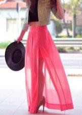 полупрозрачная юбка-макси
