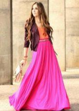 розовая летняя юбка в пол