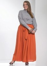 оранжевая юбка-макси для полных женщин