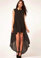 Вечернее платье-рубашка короткое спереди длинное сзади