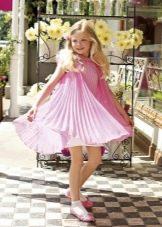 Коктейльное платье для девочки розовое