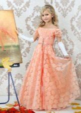 Новогоднее платье для девочки ампир персиковое
