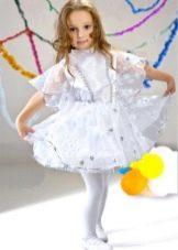 Новогоднее платье Снежинка с рукавами для девочки