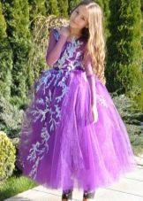Новогоднее платье для девочки сиреневое